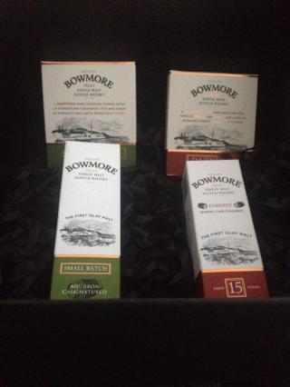 Bowmore Minitures and Chocolate Bars